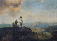 landscape with goatheard blowing horn by george jabin