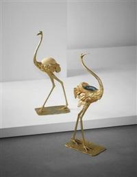 struzzo and airone sculptures by gabriella crespi