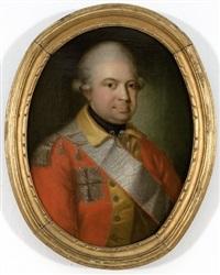 portræt af generalløjtnant frederik von numsen i rød uniformsjakke och gul vest (after jens juel) by herman koefoed