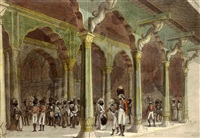 english officers at the summer palace of tippoo sultan in bangalore by alexander (sir) allan