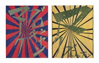 untitled (scarlet lake and indigo blue butterfly 826); untitled (canary yellow and black butterfly 830) (2 works) by takashi murakami