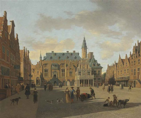 the grote markt and town hall haarlem seen from the east by gerrit adriaensz berckheyde