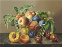 peaches, plums and apples in a glass bowl by peaches on a marble ledge by anton hartinger