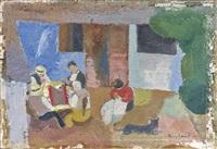 quatre personnages jouant, une femme cousant à leur côte by henri coudour