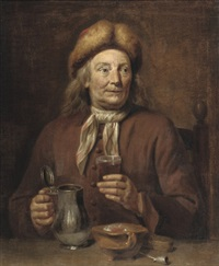 a gentleman seated at a table smoking and drinking by jan maurits quinkhardt