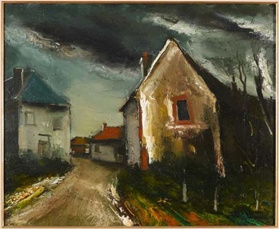 route dans un village by maurice de vlaminck
