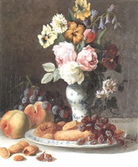 still life with flowers in an oriental vase with fruit by fritz van den daele