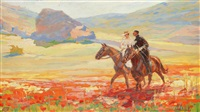 crimean landscape with riding couple by mikhail ivanovich avilov