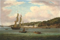 view of passage west on the river lee, co. cork with monkstown castle in the distance, a mail boat arriving in the foreground by george atkinson
