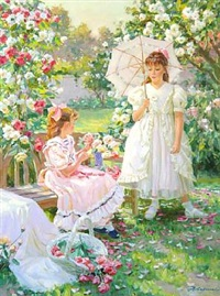 girls in a garden by aleksandr averin