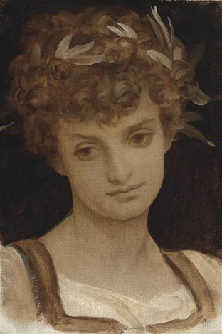 study of a girl's head, wreathed in laurel by lord frederic leighton