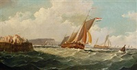 shipping off dover (+ ships in a harbor; pair) by john mundell