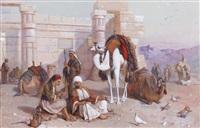 halte à gournah, avec le temple de sethi ier à l'arrière plan by joseph austin benwell