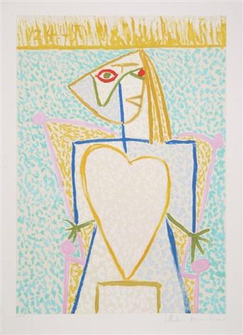 femme au buste en coeur by pablo picasso