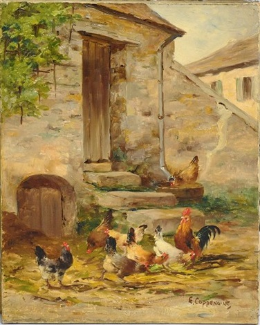 coqs et poules devant une porte de ferme by edmond van coppenolle on artnet. Black Bedroom Furniture Sets. Home Design Ideas