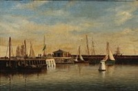 view from the pier in elsinore habour by carl emil baagöe