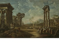 a capriccio with figures and classical ruins by giovanni paolo panini