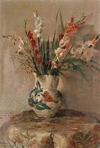 blumenstillleben mit einer vase und schwertlilien by giuseppe amisani