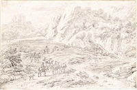 mountainous italianate landscape with merchants and other travellers by a stream by dirk maes