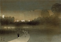 green park with buckingham palace in the background by yoshio markino