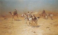 an arab caravan in the desert by thaddaus von ajdukiewicz