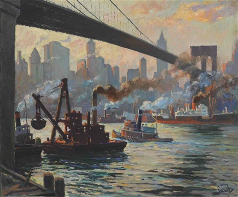 the days work east river new york by edward cucuel