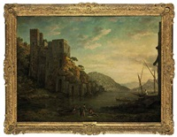 view of the coast near naples, with figures in rowing boats in the foreground by william marlow