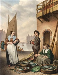 the fishmonger by adriaen de lelie