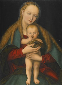 virgin and child with a bunch of grapes by lucas cranach the younger