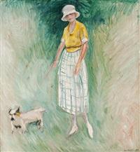 kvinne med skjødehund i bånd by arne kavli