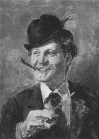 portrait eines herrn mit melone by emmanuel spitzer