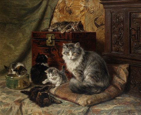 a cat and her kittens at play by henriette ronner knip