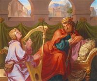 david spielt die harfe sauls by franz dobiaschofsky