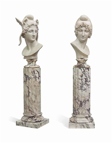 busts of perseus and paris pair by antonio canova