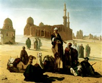 pilgrims outside the tombs of the caliphs, cairo by andré hennebicq