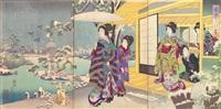 snowy garden (enchū no yuki) (ōban triptych) by toyohara chikanobu