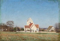 danish summer day with the church of lynge by laurits andersen ring