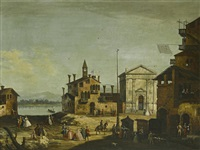 a venetian veduta with strolling figures by francesco albotto