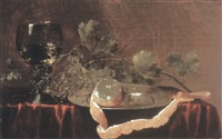 still life with roemer, grapes and a peeled lemon on a pewter plate by abraham susenier