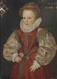 portrait of a young girl from the prescott or hewitt family, three-quarter-length, in a red dress with lace ruff and gold chains, a carnation in her right hand by british school (16)