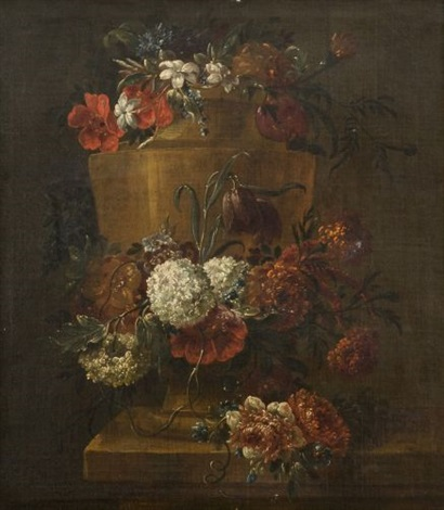 vase orné dune guirlande de fleurs by gaspar pieter verbruggen the younger