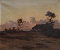 chaumière au rivage, crépuscule by maurice françois auguste courant