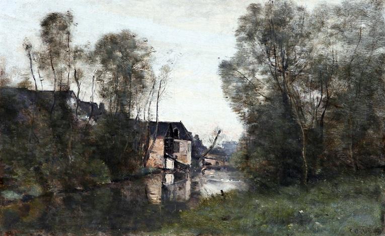 voisinlieu prs beauvais maisons au bord de leau avec un arbre penché by jean baptiste camille corot