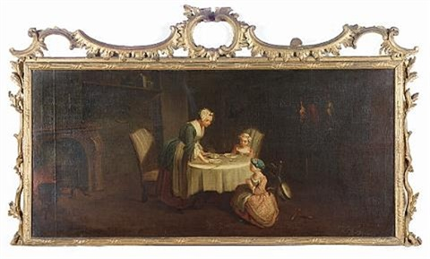 a woman and her young family in an interior by jean baptiste siméon chardin