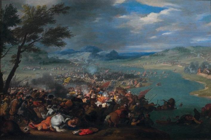 bataille au bord du danube entre larmée turque de kara mustapha et celle de jean sobieski roi de pologne by jan peter van bredael the younger