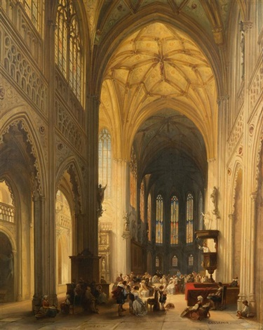 gothic cathedral interior by jules victor genisson