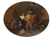 pendant l'absence des brigands, gil-blas s'enfuit de la caverne, et délivre donne mencia de mosquéra que ces bandits avaient enlevée quelques heures auparavant by françois ange