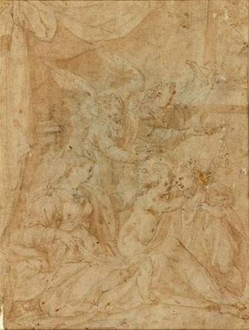 vierge à lenfant avec saint jean baptiste et deux anges by hendrick de clerck
