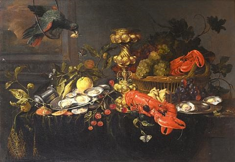 a parrot before an open window with lobsters oysters lemons and cherries with a basket of grapes and a silver wine jug on a draped table top by jan pauwel gillemans the elder