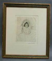 margot wearing a bonnet (no. 5) by mary cassatt